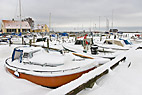 Vinter i Dragør havn - Dragor harbour frozen and covered in snow