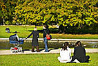 Frederiksberg Have - People enjoying nice sunny autumn weather in the park