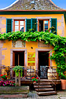 Cafe facade - Front of beautiful Alsace style café