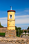 Det gule tårn i Nordby Samsø - The famous yellow bell tower from 1857 at Nordby Samso Denmark