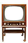 Gammel B&O TV - White screen on Bang & Olufsen television set from 1959