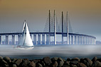 Sejlbåd i tåge på Øresund - Sailing boat in fog in front of the bridge between Denmark and Sweden